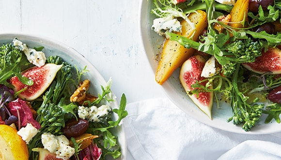 Poached Pear and Fig Salad with Caramelised Walnuts