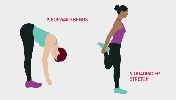Forward bends and Quadricep Stretch